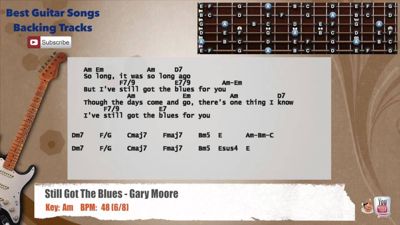 Still Got The Blues Gary Moore Guitar Backing Track With Vocal