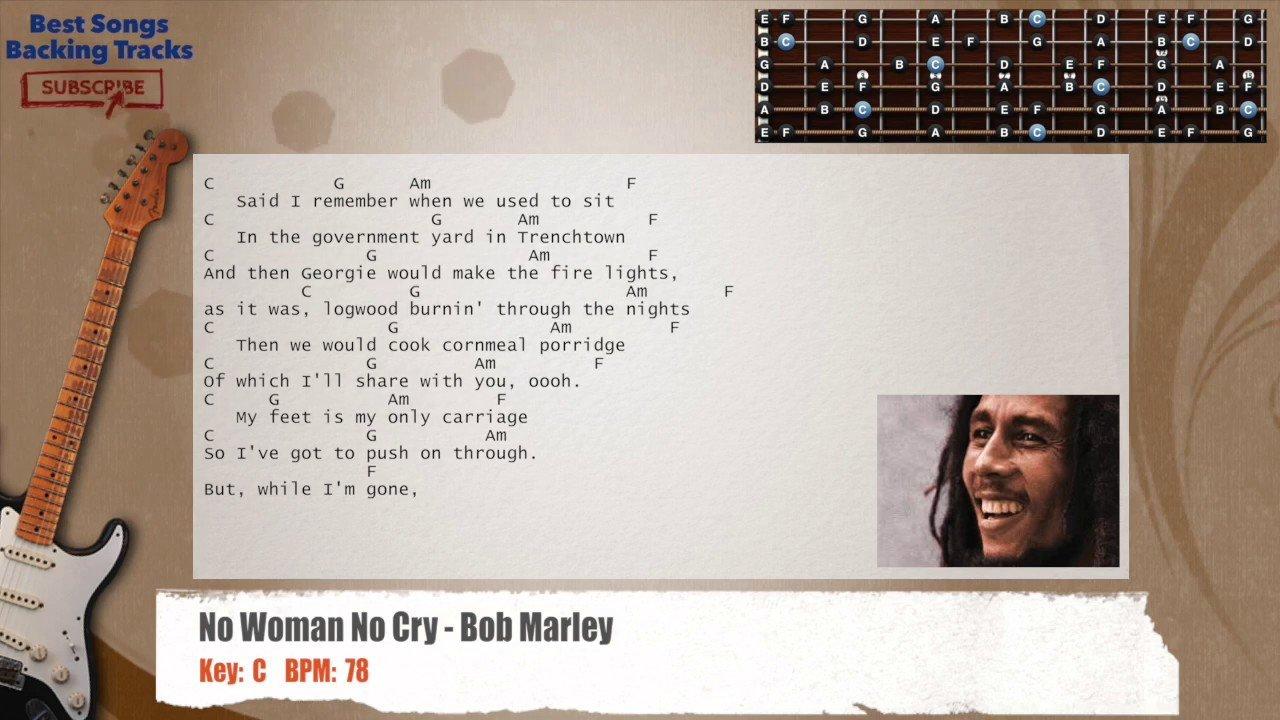 No Woman No Cry – Bob Marley Guitar Backing Track with chords and lyrics