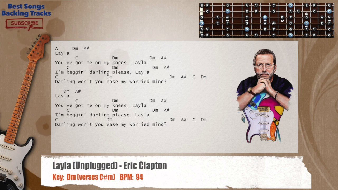 Layla (Unplugged) – Eric Clapton Guitar Backing Track with chords and lyrics