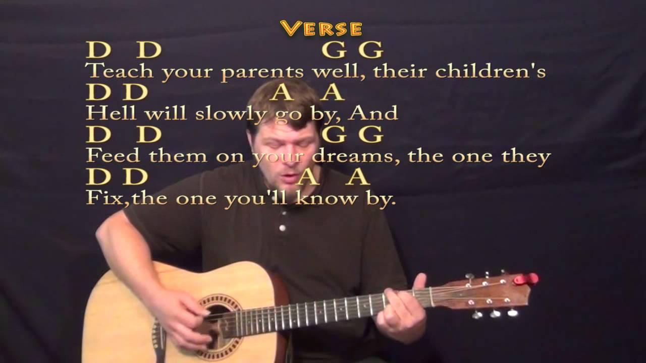 Teach Your Children (CSN&Y) Strum Guitar Cover Lesson with Lyrics/Chords