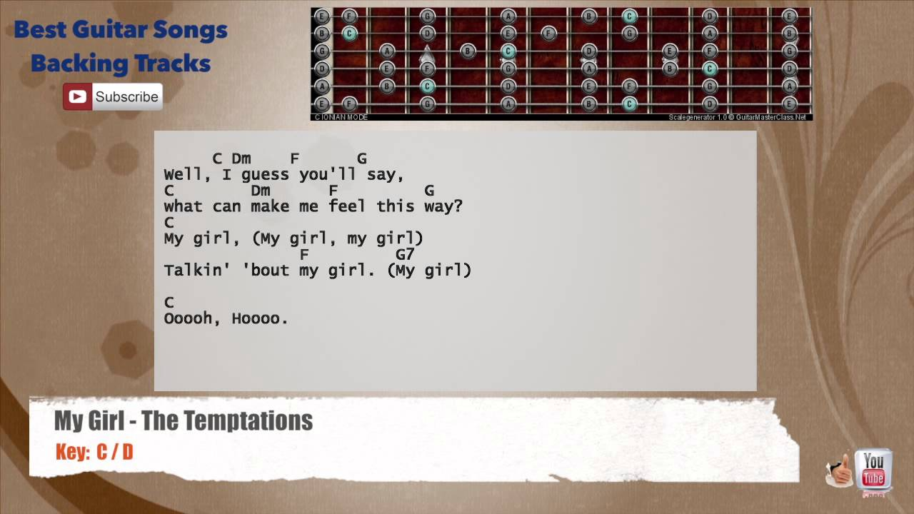 My Girl – The Temptations Guitar Backing Track with scale, chords and lyrics