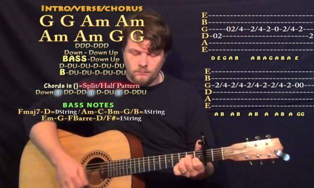 Tennessee Whiskey (Chris Stapleton) Guitar Lesson Chord Chart – Capo 2nd – G Am