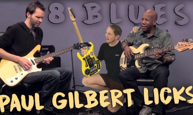 BEST 8 LICKS: Paul Gilbert BLUES (ArtistWorks Jam In A)   EASY Simple Intermediate Lesson