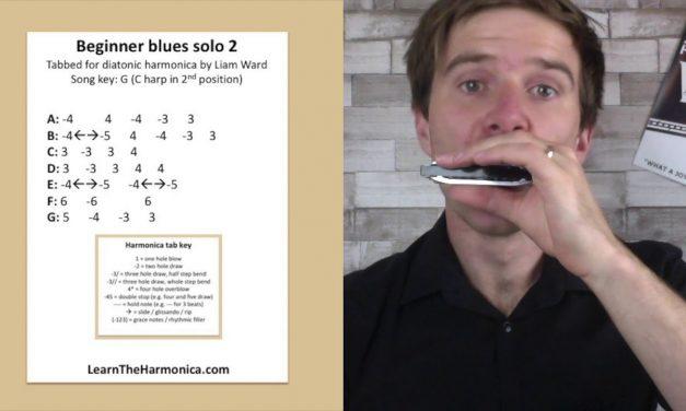 Beginner blues solo lesson 2: easy harmonica lesson for C blues harp