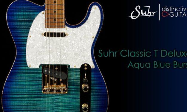 Suhr Classic T Deluxe   Aqua Blue Burst Flame w/ Roasted Birdseye Neck