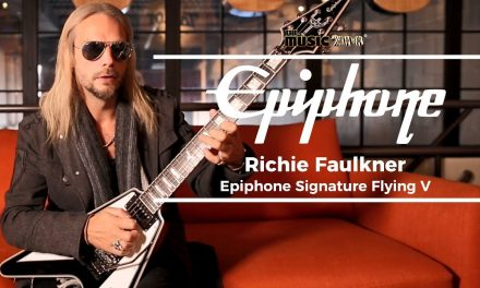 Richie Faulkner of Judas Priest Signature Epiphone Flying V at The Music Zoo