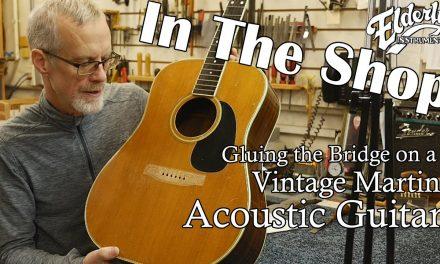 In The Shop: Gluing the Bridge on a Vintage Martin Acoustic Guitar | Elderly Instruments Repair Shop