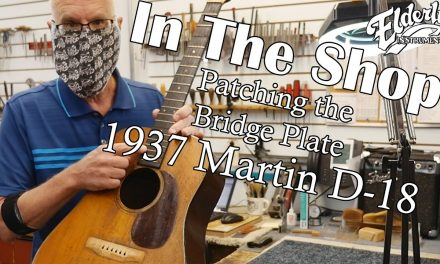 In The Shop: Patching the Bridge Plate on a 1937 Martin D-18 | Elderly Instruments