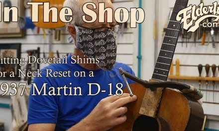 In The Shop: Fitting Dovetail Shims during a Neck Reset on a 1937 Martin D-18 | Elderly.com