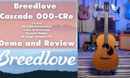 Breedlove Cascade 000CRe demo and review. 12 Fret, Cedar & Rosewood Guitar